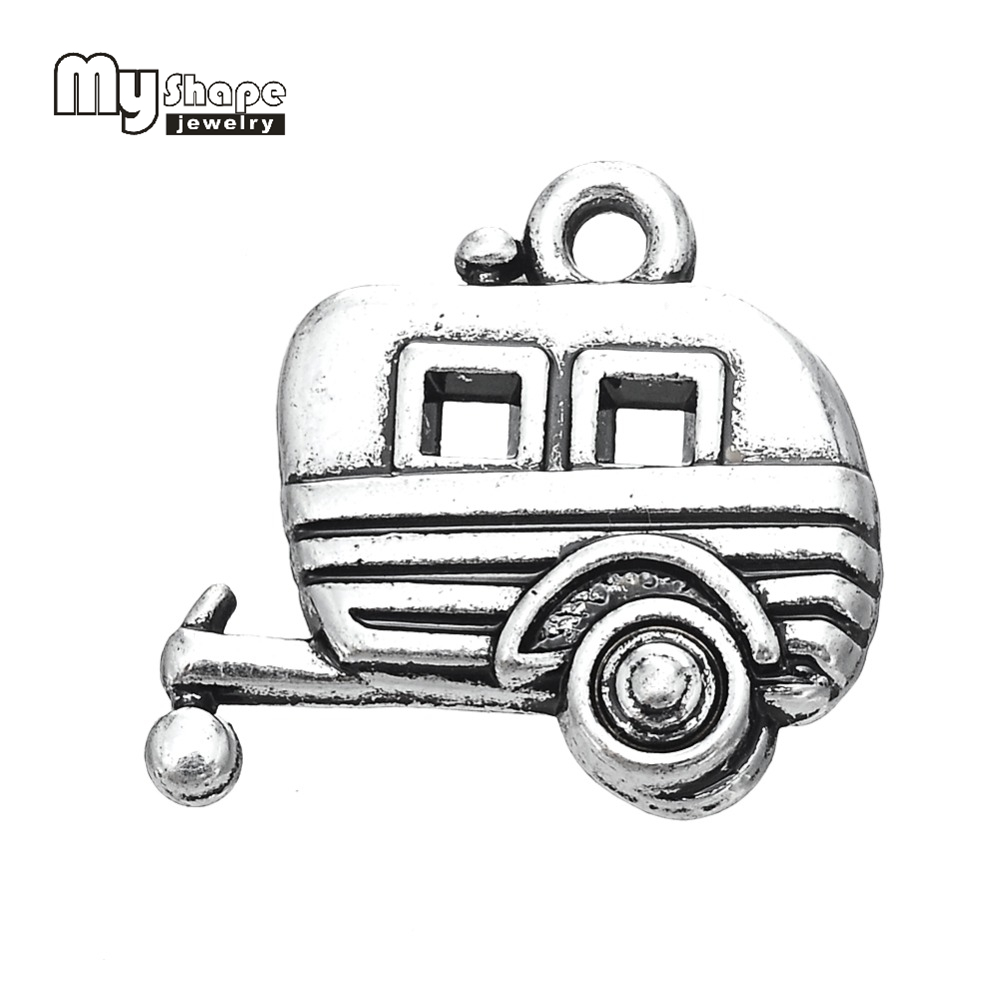 My Shape Antique Silver Plated Camping Trailer Charm Travel Pendant Zinc Alloy Metal DIY ...