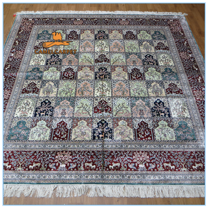 Free Shipping 244x244 Cm Four Season Silk Hand Knotted 8x8