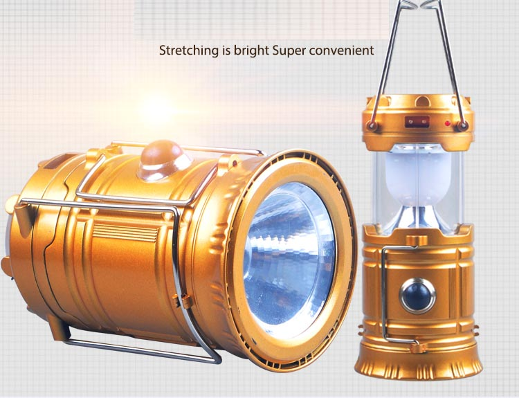 Super bright LED solar rechargeable outdoor hiking camping lights portable tents lights lantern emergency flashlight