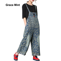 Pattern Leaves Printed Ripped Denim Jumpsuits Women Loose Casual Wide Leg Jeans Overalls
