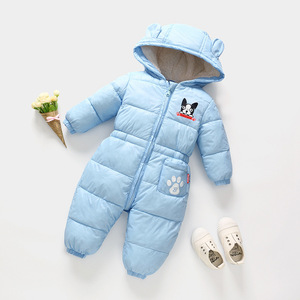 Image 4 - Russian autumn winter newborn baby clothes jumpsuit warm boys snowsuit for children hooded overalls for girls unisex baby romper