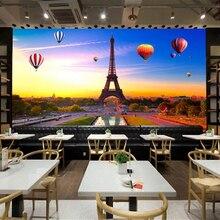 Beibehang 3D pintura decorativa papel tapiz ultra claro París Torre Eiffel colorido globo de aire caliente Fondo papel de pared