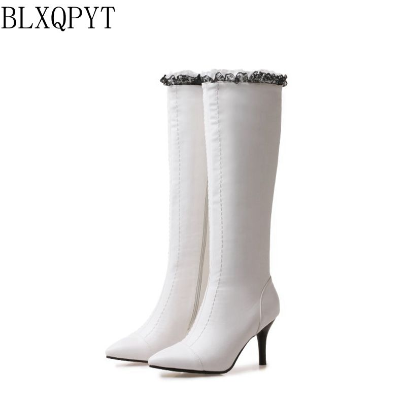 BLXQPYT New Big size 32-48 Women Knee- High Boots Winter wedding Shoes High Heels Pointed Toe Woman Boots high quality 08-16 2016 women knee high boots leather winter boots pointed toe zip casual shoes women high heels big size 32 45 black boots woman