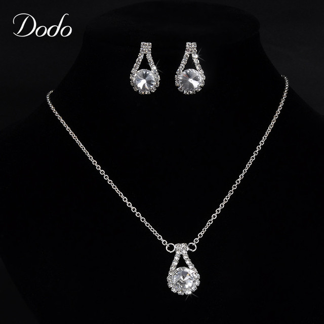 Clear Design Simple Style Vintage Fashion Jewelry Sets Crystal Teardrop Necklace Earring Bridesmaid Women S Best