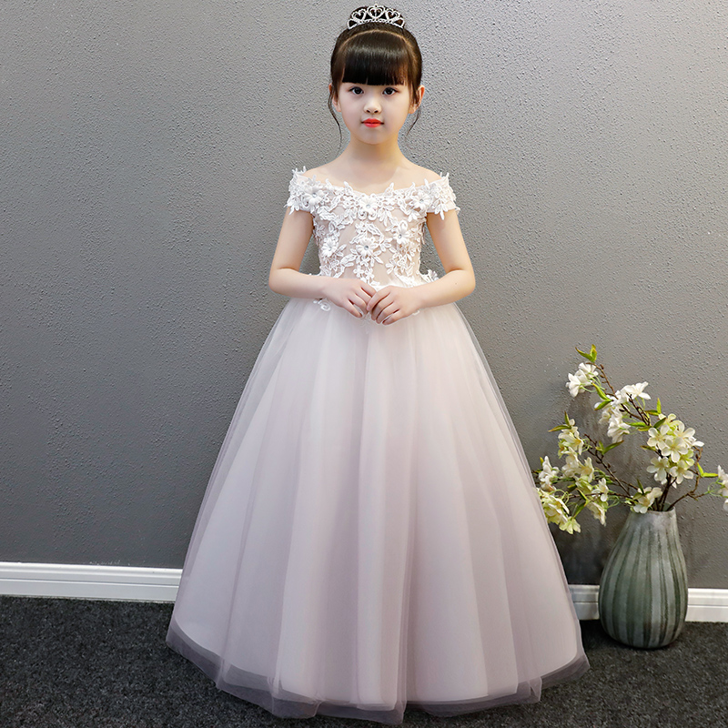 2018 New Girls Children Elegant White Lace Flowers Mesh Dresses Summer Kids Birthday Wedding Party Clothing for Little Girl