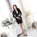 De boa qualidade estilo Clássico plus size S-3XL pura lã terno desgaste do Outono new long-sleeved macacão vermelho/preto terno