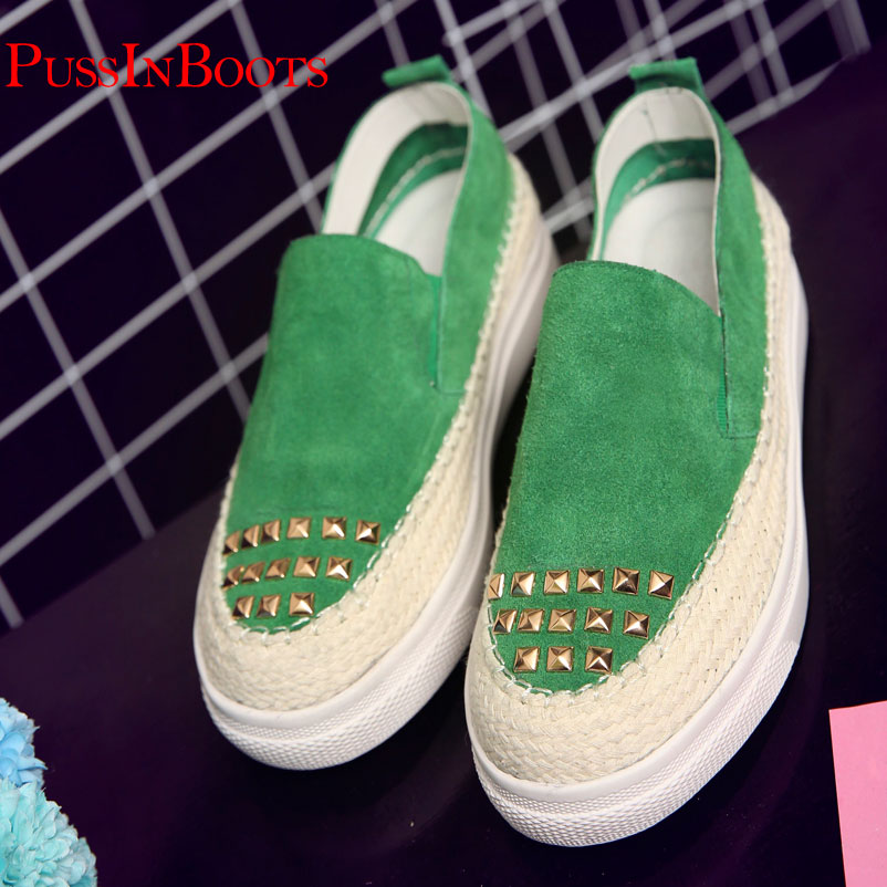 ФОТО Fashion Woman Shoes Ladies Flat Shoes Female Loafer Shoes Rivets Famous for Woman brand Flat Shoes Drop Shipping