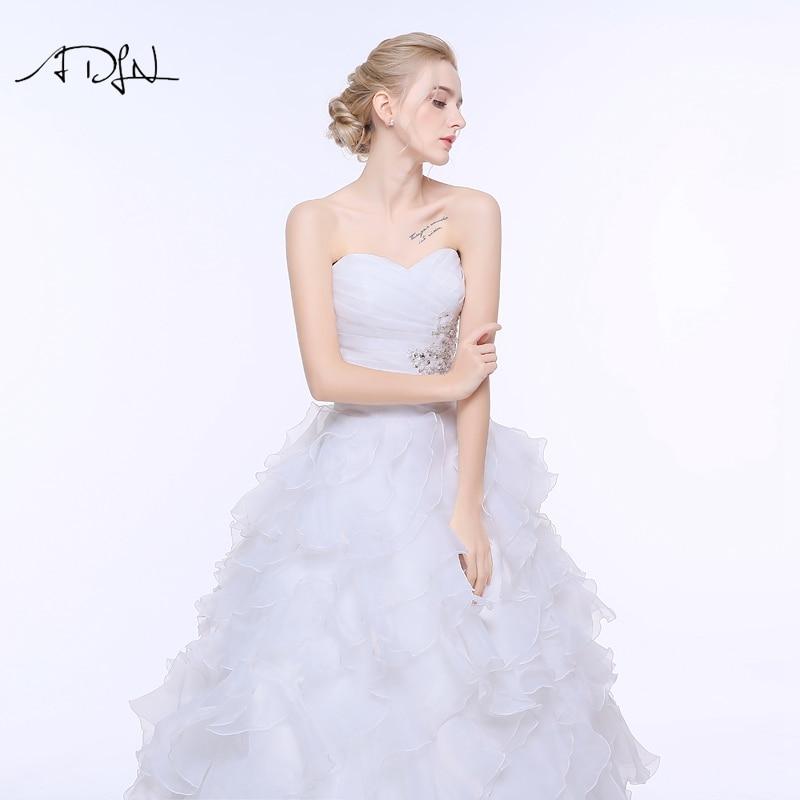 ADLN Stock Corset Wedding Dress 2017 vestidos de noiva A-line Ivory/White Ruffles Plus Size Bridal Gowns 7