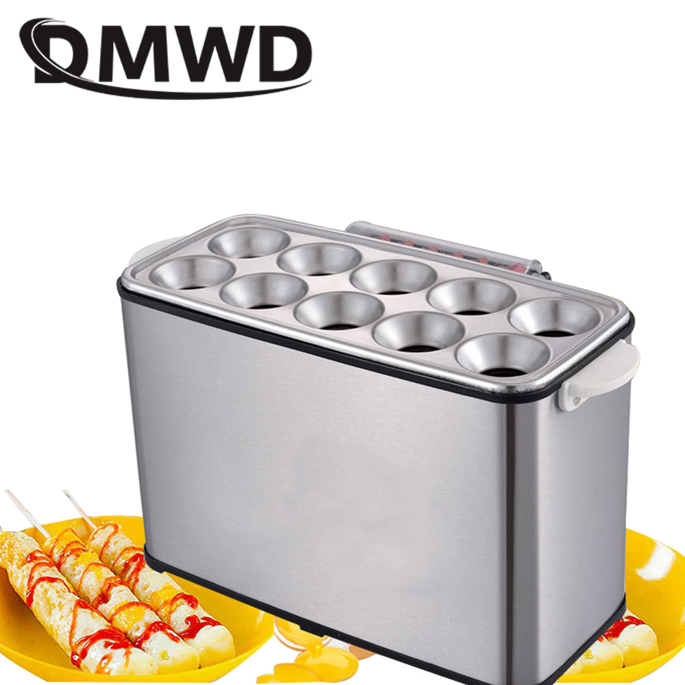 DMWD Commercial egg Sausage Roll Cooker Electric Eggs Hot Dog Boiler Steamer Omelette Master Cup Breakfast machine 10 holes EU