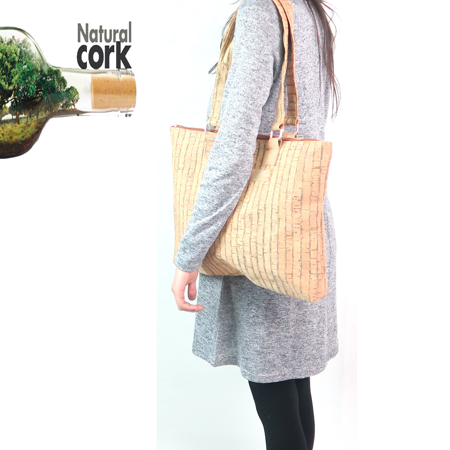 ФОТО natural cork handmade women striped handbags with brown striped 38X31CM  vegan high quality bags Bag-144 From Portugal
