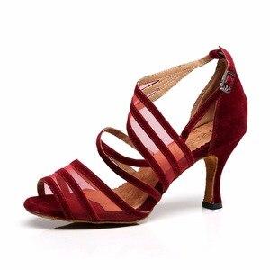 Image 5 - Women Ballroom Latin Dance Shoes Black Salsa Shoes High heels 6/7.5/8.5cm Red Samba Tango Kizomba Dance shoes Soft Sole 1126