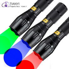Powerful LED Rechargeable Flashlight Ultra Bright torch red/green/blue light Zoomable Outdoor Camping Led