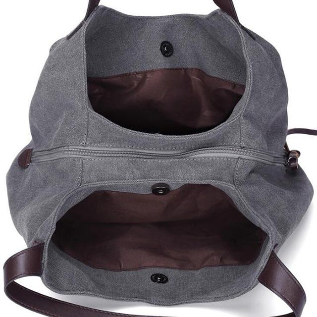 Women's Canvas Handbag Lady Canvas Hobo Bag Female Large Capacity Shoulder Bag 5