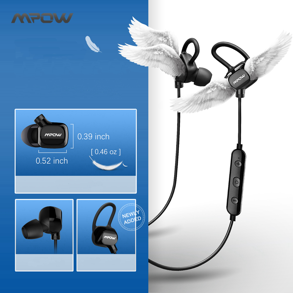 Original 2017 Mpow Bluetooth 4.1 Headphones Wireless Earphones Sweatproof CVC6.0 Noise Cancelling Sports Earbuds for Smart Phone remax t11c bluetooth earphones 2in1 mini earbuds with dual usb car charger wireless car headset cvc noise cancelling for phone
