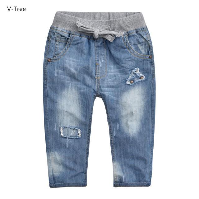 5 Escolhas Meninos calças de Ganga Casuais Crianças Calças Cintura Elástica Crianças Calças de Algodão Macio Do Bebê Crianças Denim Roupas Para O Outono