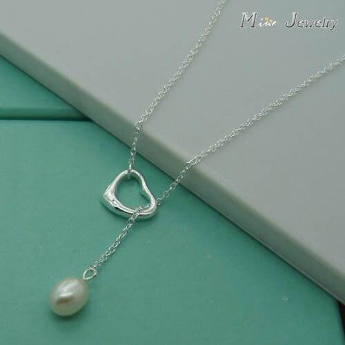 Высокое качество 925 Серебряные ожерелья сердце жемчужина Подвески Ожерелья для мужчин Цепи украшения для День Святого Валентина подарок
