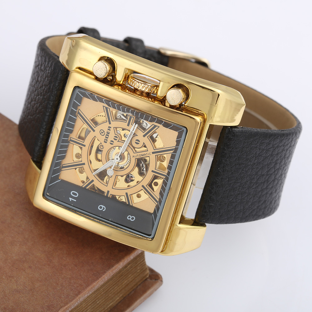 Relogio Masculino GOER Top Brand Watches Mens Gold Skeleton Mechanical Watches Men Luxury Watches Automatic Men Square WatchesRelogio Masculino GOER Top Brand Watches Mens Gold Skeleton Mechanical Watches Men Luxury Watches Automatic Men Square Watches