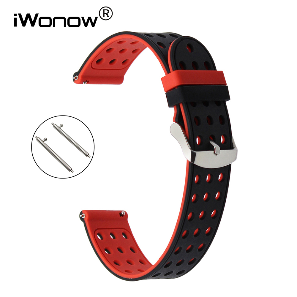 22mm Quick Release Silicone Rubber Watchband for Moto 360 2 46mm Pebble Time Huawei Watch 2 (Classic) Wrist Band Sports Strap jansin 22mm watchband for garmin fenix 5 easy fit silicone replacement band sports silicone wristband for forerunner 935 gps
