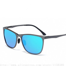 Aluminum Magnesium Sunglasses Polarized Lens Men Sun Glasses Male Driving Fishing Outdoor Eyewears Accessories LM2349blue lenses