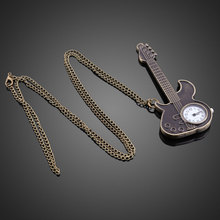 Sizzling Inventive Bronze Guitar Model Quartz Pocket Watch Necklace Watches for Girls Males LXH