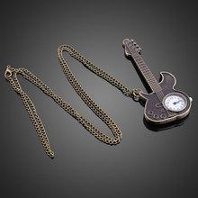 Hot Creative Bronze Guitar Style Quartz Pocket Watch Necklace Watches for Women Men    LXH