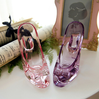 زينة عيد أميرة الزجاج الشفاف كعب سندريلا الزجاج شبشب حذاء الزفاف تأثيث المقالات