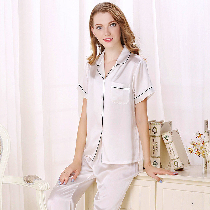 Summer sexy 100% silk short sleeve pajama sets womens solid color noble elegant pyjamas women casual white sleepwear