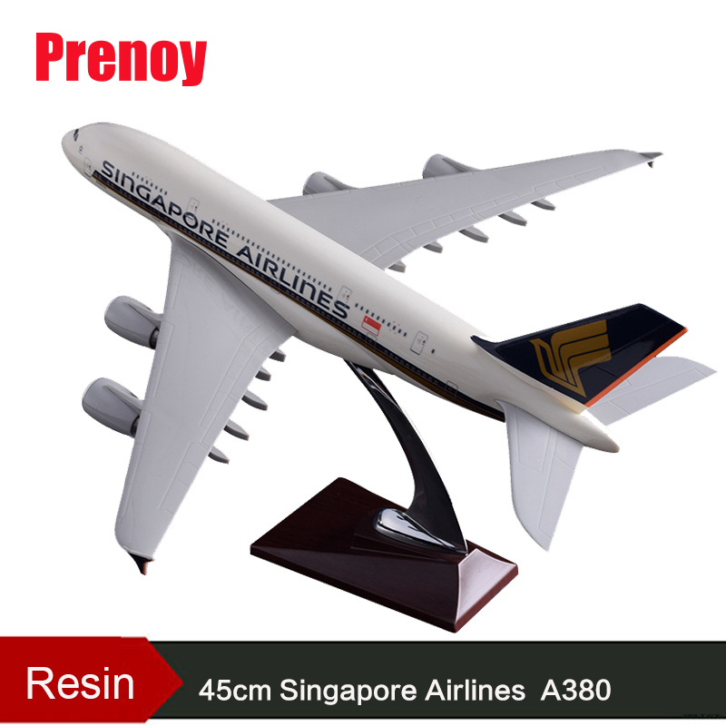 45cm A380 Singapore Airlines Aircraft Model Resin Airways Airbus International Airplane Singapore A380 Aviation Static Model Toy electric air bus model toys moving flashing led light sounds kids toy assembling aircraft children gift a380 airbus music toy