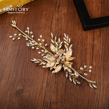 Himstory Handmade BRidal Wedding Party Gold Leaf Hair Jewelry Leaf Crystal Vine Hairpins Head Piece Bride Vintage Hair Accessory