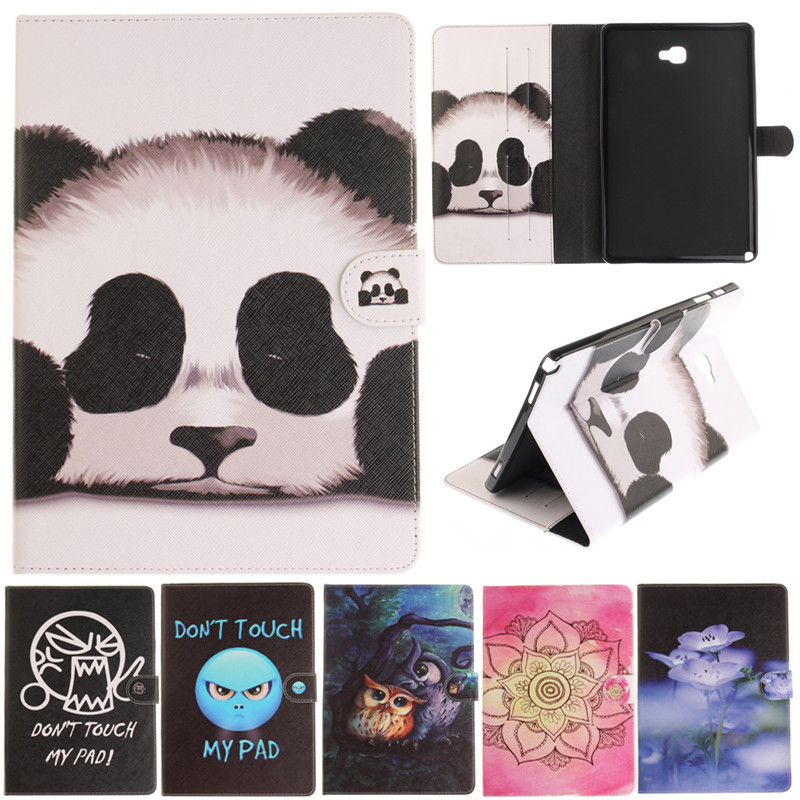 Fashion Cantoon Panda Owl Flower Painted Flip PU Leather sFor Samsung Galaxy Tab A A6 10.1 P580 P585 Tablet Case Cover Shell