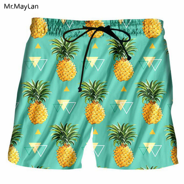 de68d986d7 US $15.01 15% OFF|Aliexpress.com : Buy Hipster 3D Print Fruits Pineapples  Men Boardshorts Summer Hawaiian Swimshorts Sea Beach Shorts Boys Fashion ...