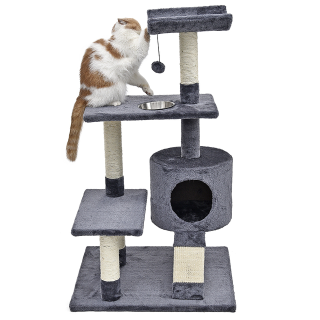 Captivating Domestic Delivery Cat Climbing Tree Pet House With Staircase Cat Scratching  Post Kitten Playing Ball Bowl