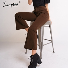 Simplee vintage de cintura alta ampla-perna veludo calças femininas plus size solto senhoras calças palazzo calças femininas sólidas
