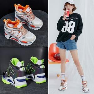 Image 5 - SWYIVY Wedge Chunky Sneakers kobiety obuwie 2019 nowe oddychające szczupłe nogi czarne trampki platformowe buty dla kobiety Sneaker