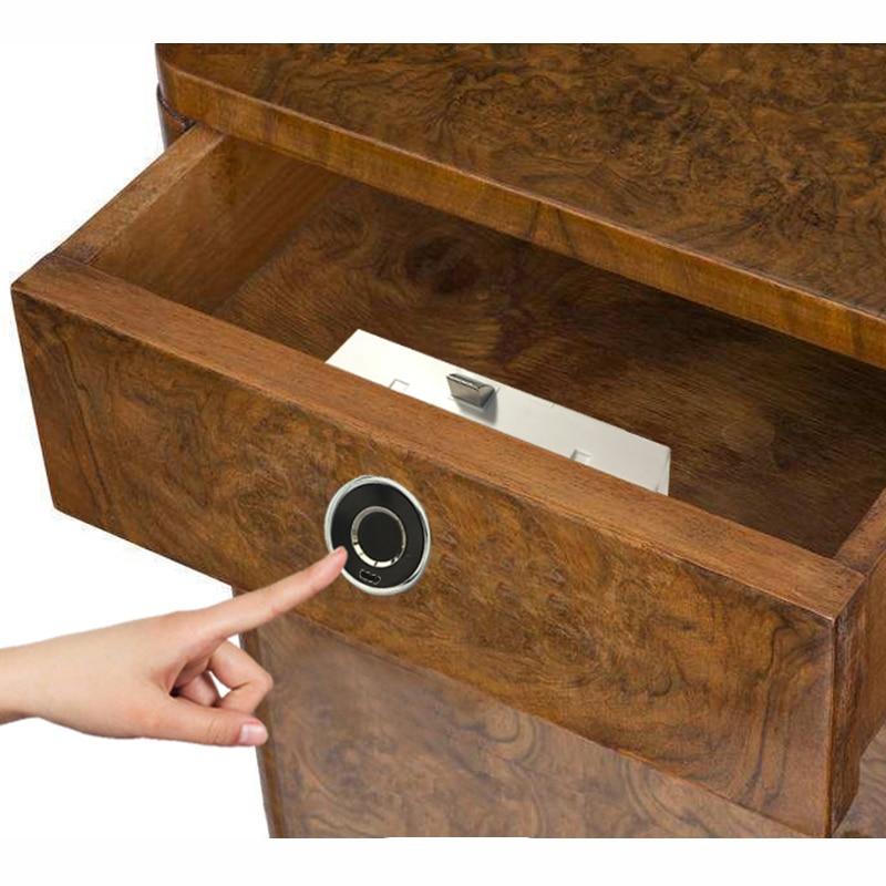 Super Mini Fingerprint Lock for Drawer Cabinet Wardrobe Round Smart Electric Anti Theft Safe Security Fingerprint