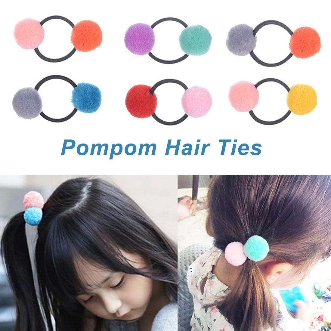 Bonito para meninas pompom laços de cabelo duplo elástico bandas de cabelo cordas acessórios anel de bola de cabelo