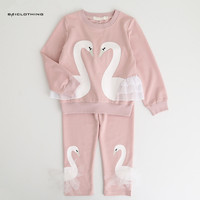 Girls Children Clothing Sets 2017 New Autunm Sets Children Clothing Lovely Swan Lace Design Sweatshirts Pants