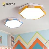TRAZOS современный светодиодный потолочный светильник деревянный шестигранный потолочный светильник с затемнением пульт дистанционного упр