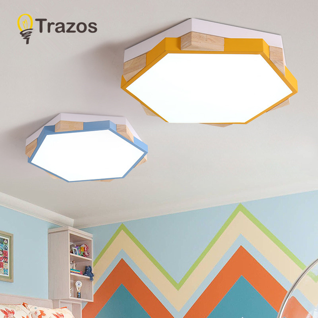 TRAZOS Modern LED Ceiling Lights Wooden Hexagon Ceiling Lamp With Dimming Remote For Living Room Dining Light Wood Bedroom Lamps