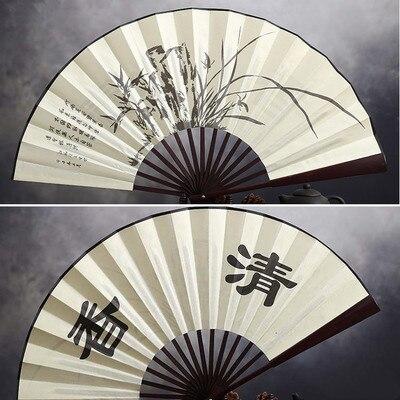 """1"""" украшенный Шелковый складной Ручной Веер человек большой бамбуковый китайский Печатный веер из ткани традиционное ремесло свадебные сувениры веер - Цвет: bluegrass"""
