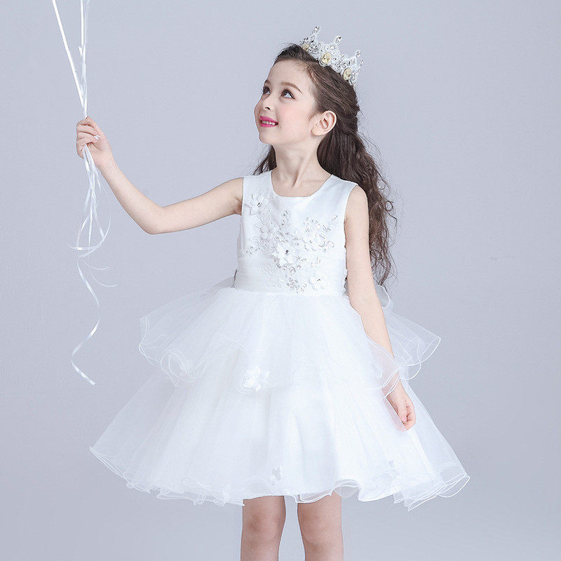 White Girls Dress Layered Party Wear Flower Girl Vestido for Wedding 2019 Girls  Clothing 3 4 789052ccb