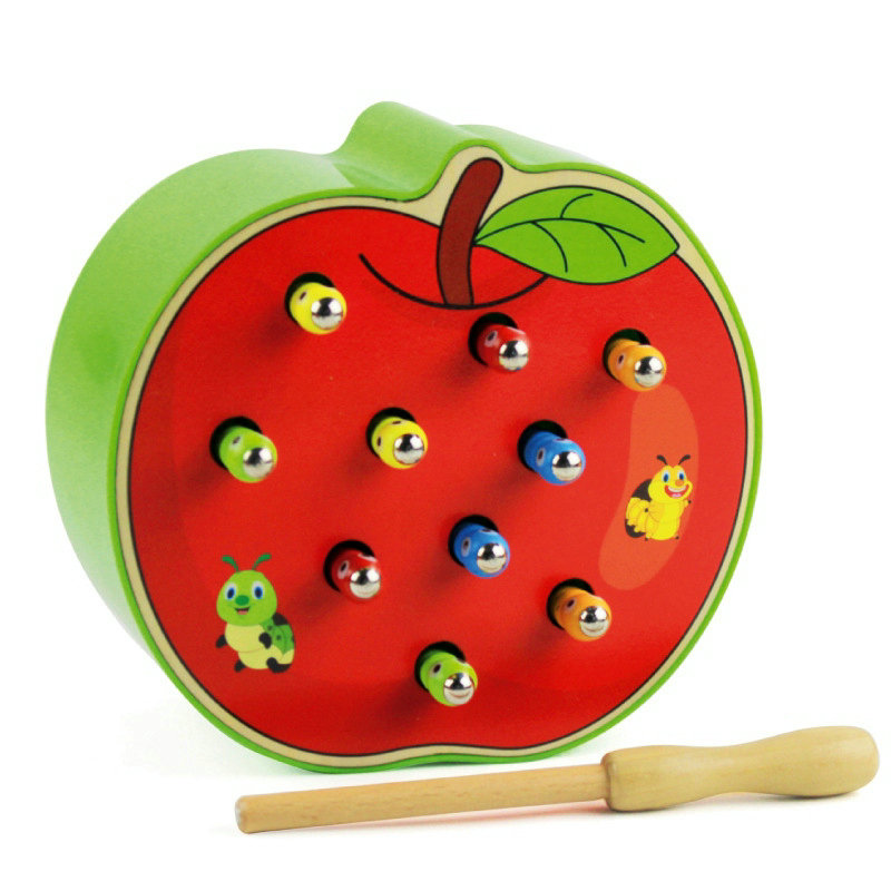 Magnetic Caterpillar And Apple / Strawberry Catch Worm /fishing Game, Children's Magnetic Catch Worm Early Education Wood Toys