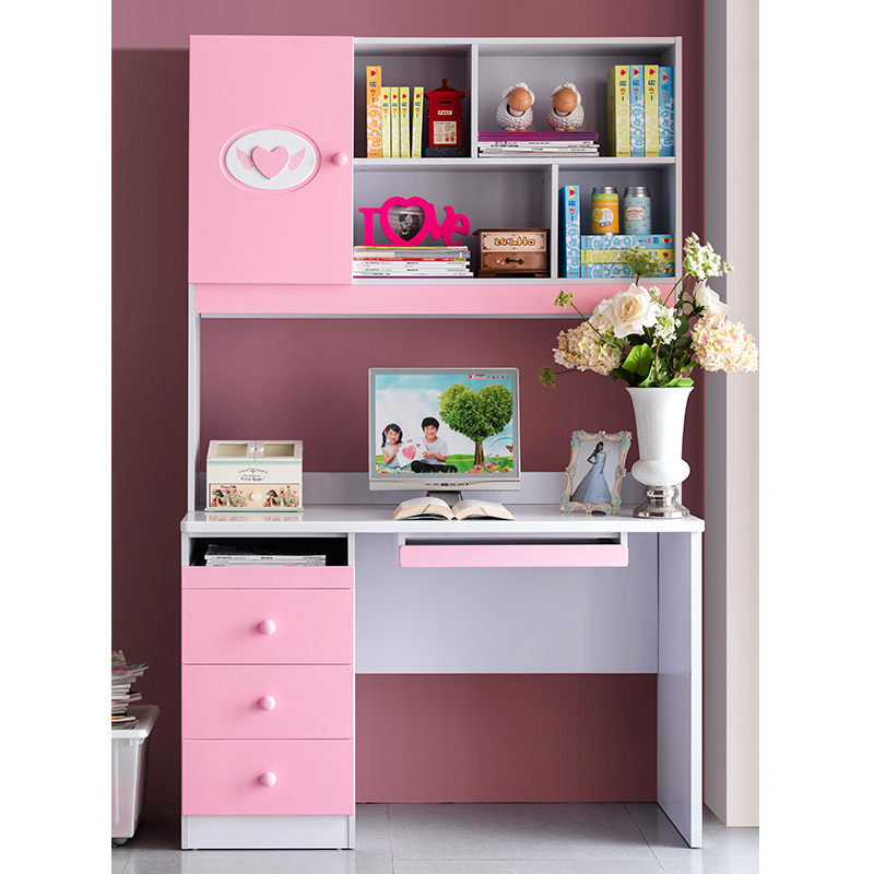 Kids suite matching pink rectangular desk computer girl bedroom furniture with shelves table in for Bedroom set with matching desk