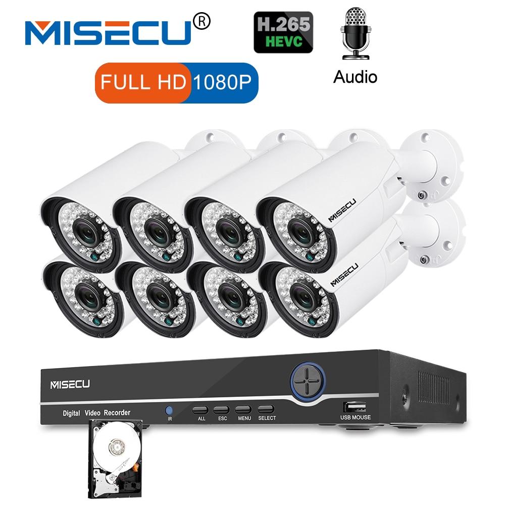 MISECU 8CH 1080 P CCTV Камера Системы аудио запись 2MP пуля PoE IP Камера Водонепроницаемый открытый Ночное видение комплект видеонаблюдения