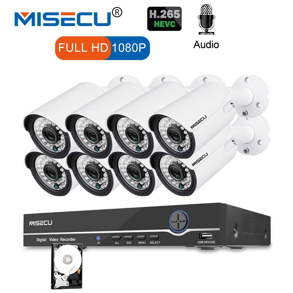 MISECU 8CH 1080 p CCTV Caméra Système Audio Record 2MP Bullet PoE IP Caméra Étanche Nuit Extérieure Vision Vidéo Surveillance kit