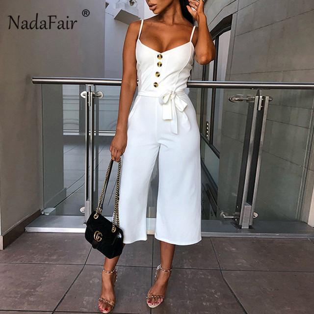 Nadafair Backless Sexy Rompers Womens Jumpsuit 2019 Belt Elegant Bandage Plus Size Black White Jumpsuit Overalls Streetwear