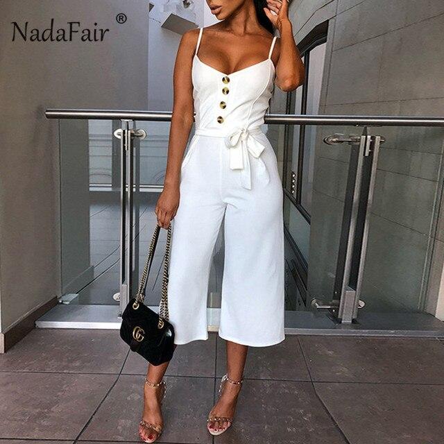 Nadafair verano trajes Sexy mujeres monos elegante cinturón venda botones de pierna ancha Casual pantalón Mono Blanco Plus tamaño