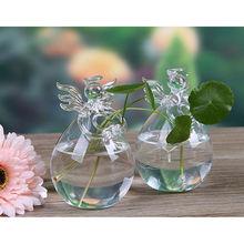 Милый стеклянный Ангел форма цветок завод висячая ваза домашний офисный, Свадебный декор из прозрачного стекла цветок завод Ангел