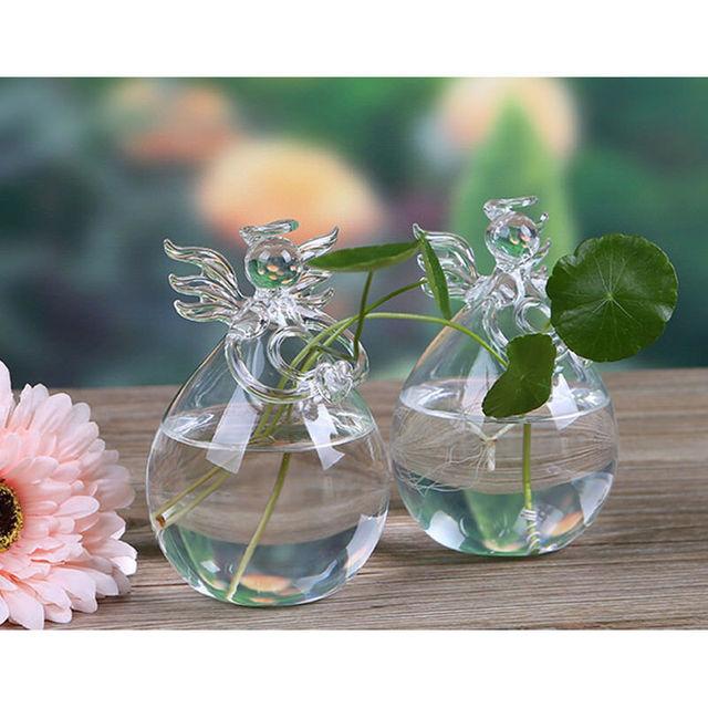 Cute Glass Angel Shape Flower Plant Hanging Vase Home Office Wedding Decor Clear Glass Flower Plant Angel 1