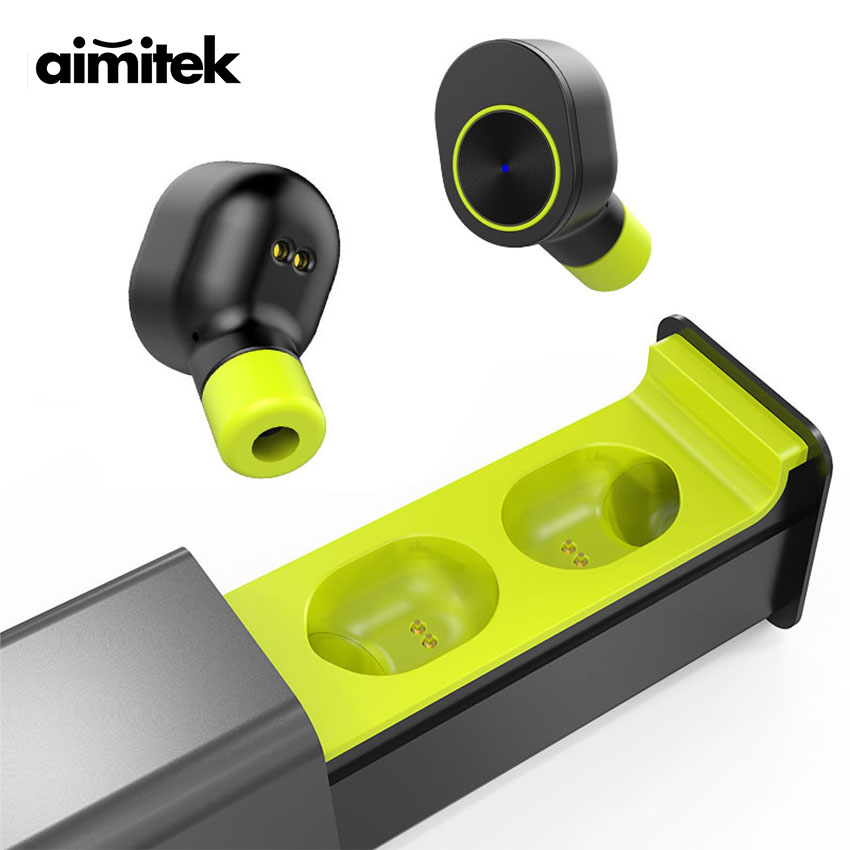 Aimitek GW10 TWS Mini Bluetooth Earphones True Wireless Stereo Earbuds Handsfree Sports Headsets with Mic Charging Box for Phone